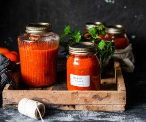 fresh tomato sauce in sealed jars