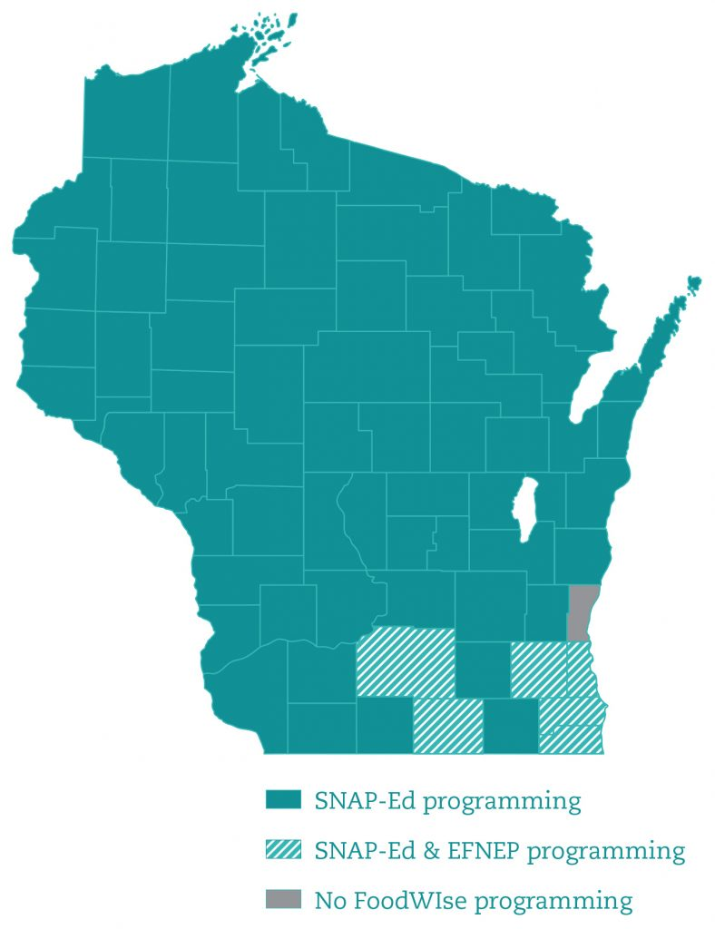 FoodWIse map of Wisconsin showing counties with educators
