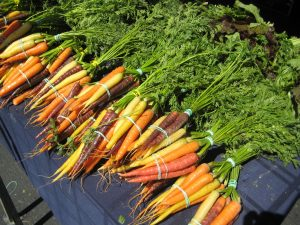 carrots for sale at a farmers market