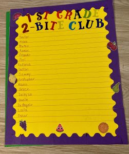 Purple and yellow poster with students' names, fruit and vegetable stickers. This poster was used to track students' efforts to try new foods.